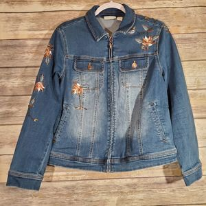Chico's Beaded/Embroidered Jean Jacket